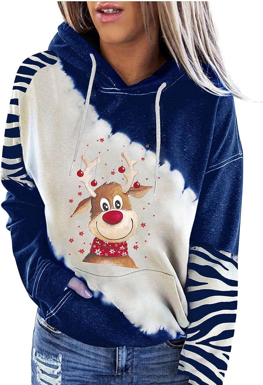 Womens Hoodies Christmas Elk Graphic Sleev Long Fees free Fall Sweatshirts OFFicial mail order