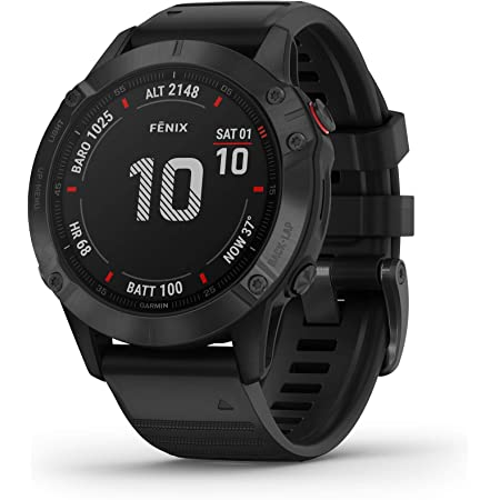 Garmin Fenix 6 Pro, Premium Multisport GPS Watch, Features Mapping, Music, Grade-Adjusted Pace Guidance and Pulse Ox Sensors, Black (Renewed)