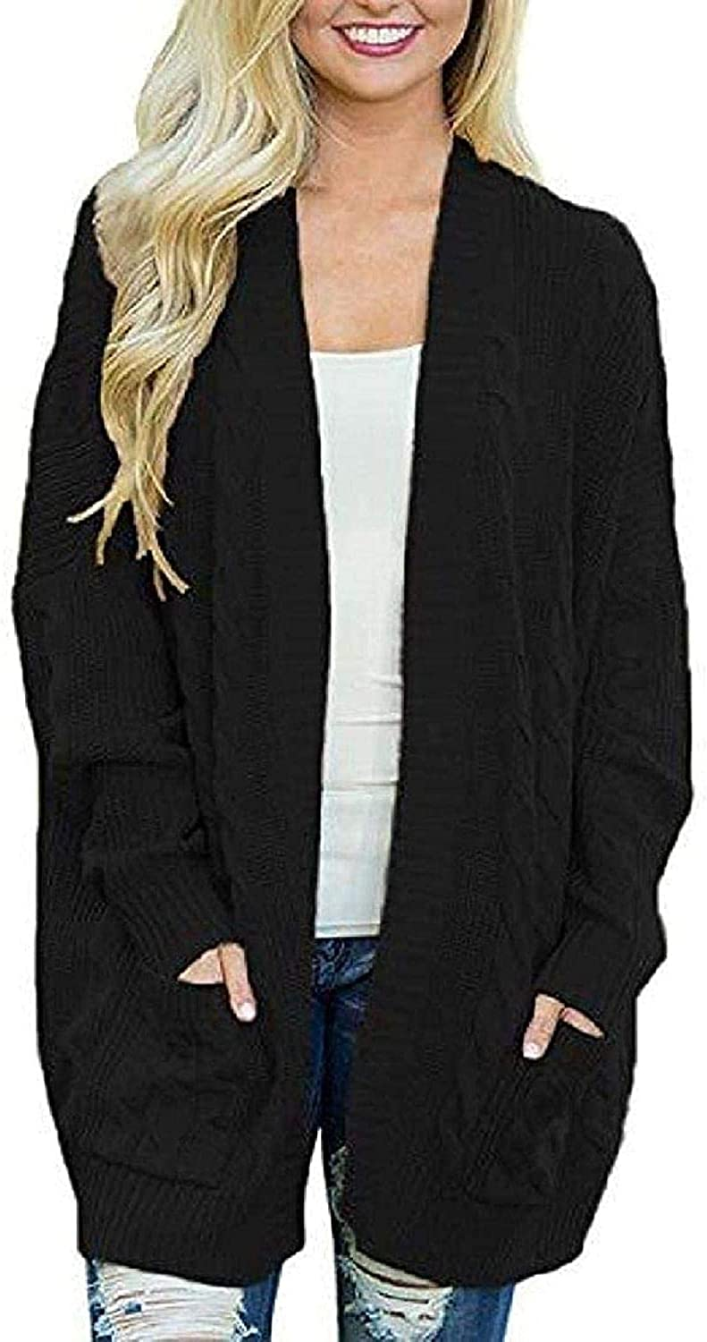 Women Oversized Open Front Sweater Cardigans with Outerwear Max Directly managed store 44% OFF Pock