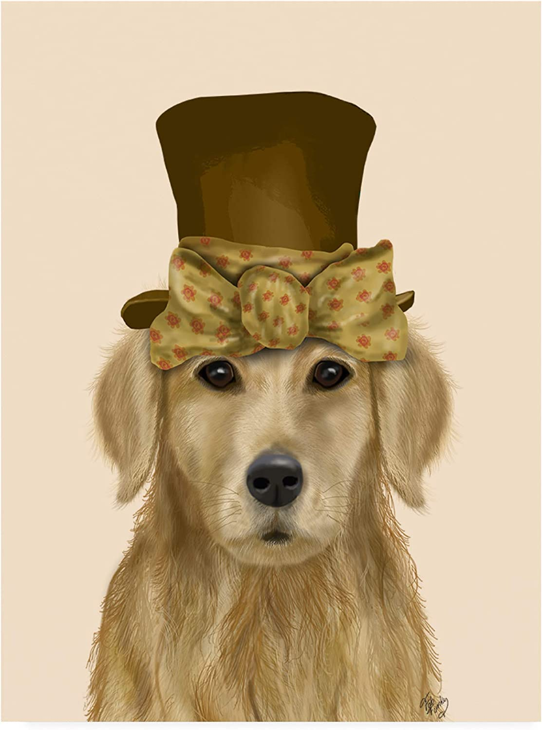 Trademark Fine Art golden Retriever, Hat and Bow by Fab Funky, 14x19