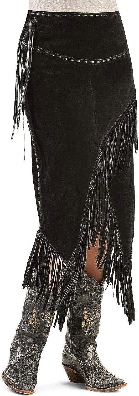 New York Lambskin Genuine Leather Suede Women Fringe Black Skirt