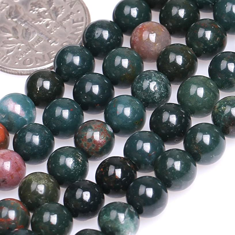 GEM-inside Natural 6mm Round Smooth Dark Green Blood Stone Beads for Jewelry Making Strand 15