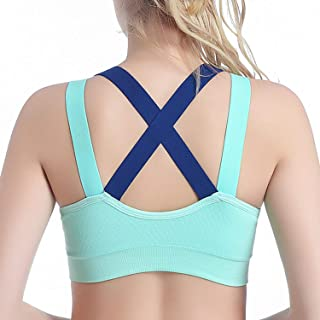 Greenf Cross Straps Sexy Sports Bra for Women Push Up Fitness Tank Top Yoga Underwear