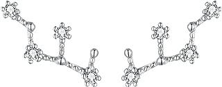 Women 925 Sterling Silver CZ Horoscope Zodiac 12 Constellation Astrology Ear Crawler Post Earrings