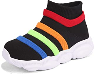KRIMUS Toddler Baby Sneaker for Girls Boy Ankle high top Flyknit Sock Athletic Running Walking Casual First Walkers Shoes