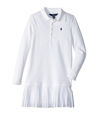 Polo Ralph Lauren Kids Pleated Knit Polo Dress (Little Kids) (White) Girl