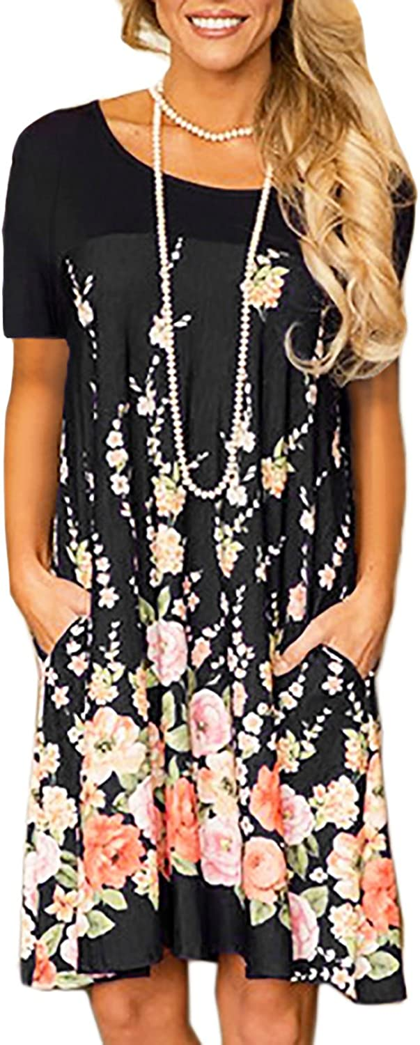 Alelly Minipeach Women's Floral Print Crew Neck TShirt Dresses with Pockets
