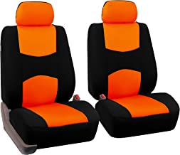 FH Group Universal Fit Flat Cloth Pair Bucket Seat Cover, (Orange/Black) (FH-FB050102, Fit Most Car, Truck, Suv, or Van)