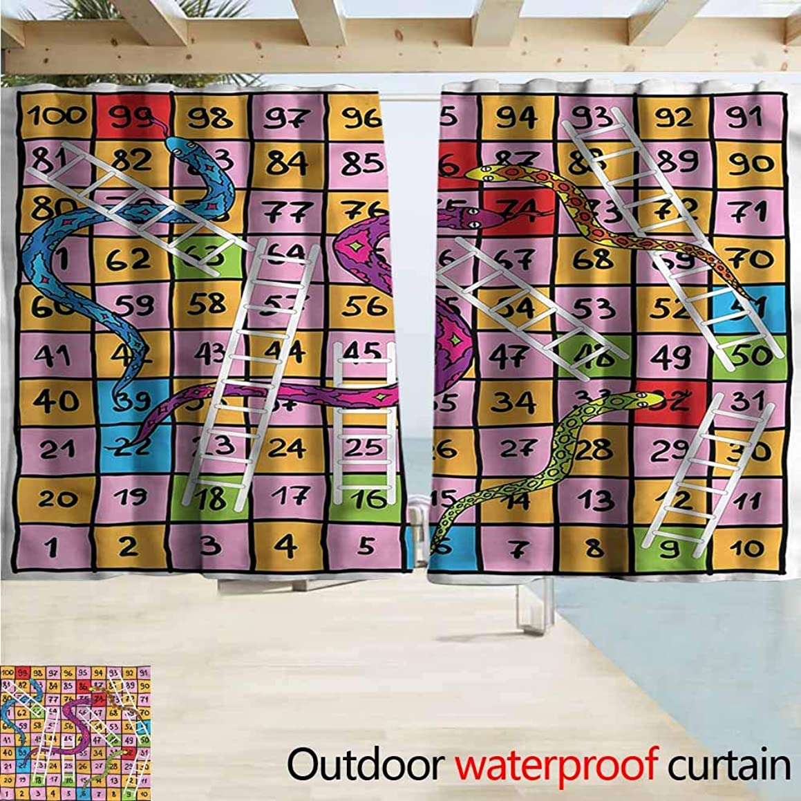 MaryMunger Outdoor Patio Curtains Board Game Snakes Ornate Details Rod Pocket Curtain Panels W72x63L Inches