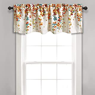Lush Decor Weeping Flowers Turquoise and Tangerine Valance Curtain for Windows, Turquoise & Tangerine