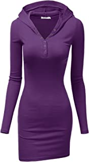 Womens Long Sleeve Henley Neck Basic Hoodie Dress
