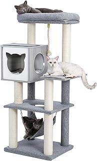 [Amazonブランド] Umi.(ウミ) キャットタワー 据え置きタイプ ハンモック 広い見晴台 運動不足解消 安定性抜群 お手入れ簡単 多頭飼い 木製猫ハウス おしゃれ グレー