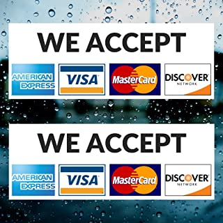 Credit Card Vinyl Sticker Decal (LANDSCAPE) - 2 PACK - We Accept - Visa, MasterCard, Amex and Discover - 8