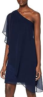 Swing Damen fließendes One-Shoulder Chiffonkleid (Bluse)