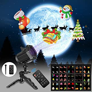 UNIFUN Christmas Lights,15 Patterns Projector Lights Waterproof Dynamic Landscape Lights for Celebration Halloween,Christmas, Birthday and Party Decorations