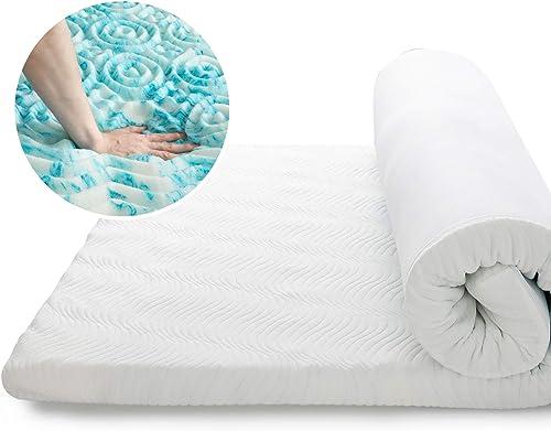 Bedsure Topper Colchón Viscoelástico 90x190x7cm de Memory Foam - Sobrecolchon Antiestático con 1 Funda Extraíble y La...