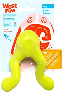 West Paw Zogoflex Tizzi Interactive Treat Dispensing Dog Fetch Play Toy, 100% Guaranteed Tough, It Floats!, Made in USA