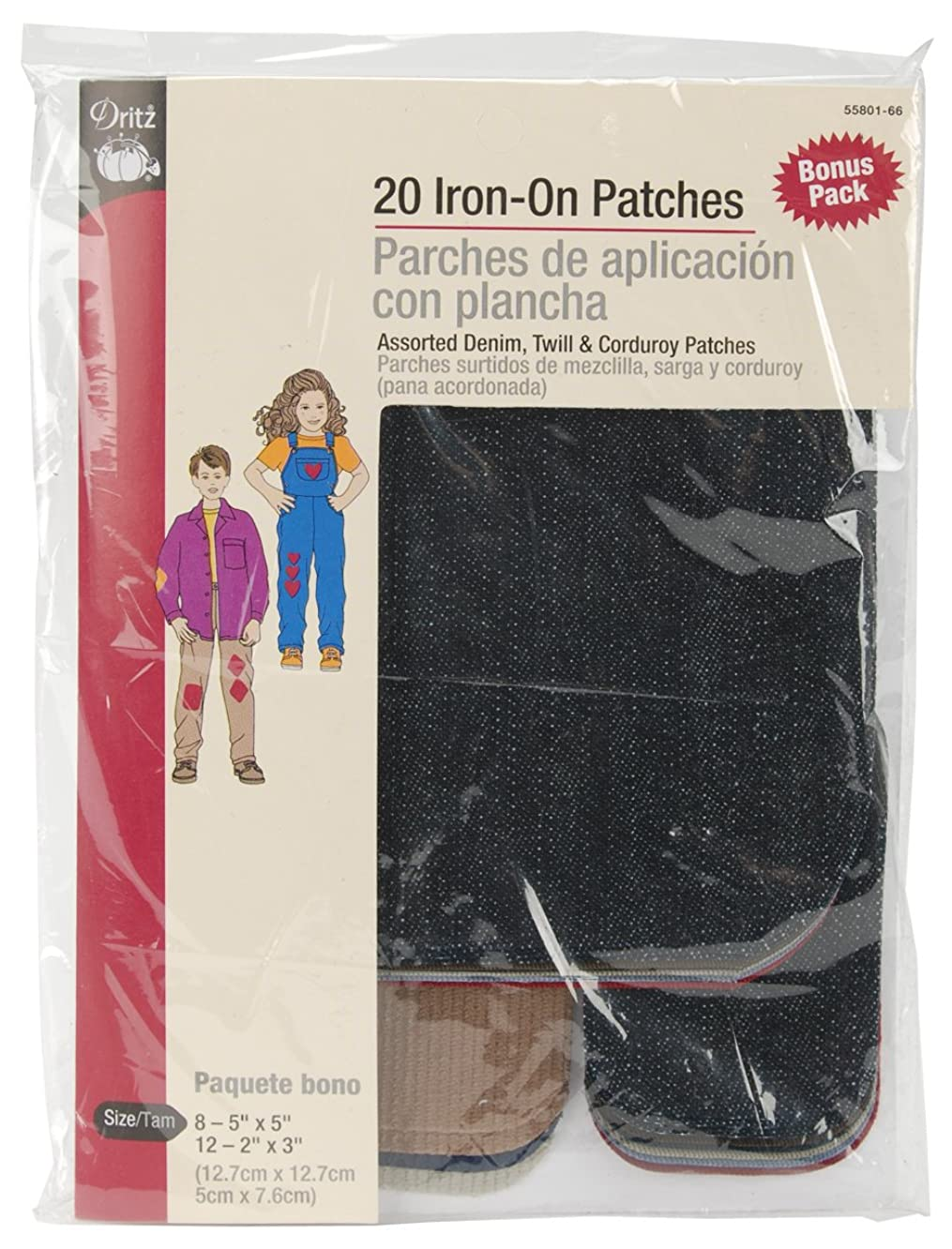 Dritz 55801-66 Patches, Iron-On, Denim, Twill & Corduroy, Assorted Colors & Sizes (20-Count)