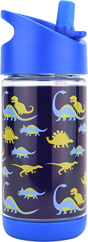 Kids Water Bottle With Straw Spill Proof Eco Friendly BPA Free Non Toxic Plastic Bottles Dinosaur Water Bottle