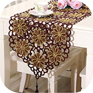 New Embroidered Table Runner Polyester 2 Colors Floral Hollow Lace Microwave Oven Table Covers Home Wedding Party Decoration,40 by 150cm,Coffee