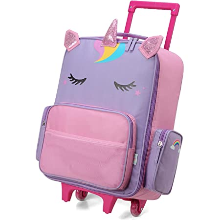 Rolling Luggage for Kids,VASCHY Cute Travel Carry on Suitcase for Girls/Toddlers/Children with Wheels 18inch Unicorn
