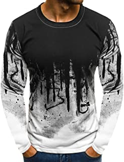 Balakie Stylish Mens Blouse Splashing Ink Gradient Color Beefy Basic Shirt Tops