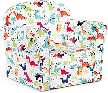 HONEY JOY Children Sofa, Dinosaur Patterned Toddler Armchair with High Back, High-Resilience Sponge, Portable Mini Couch Chai