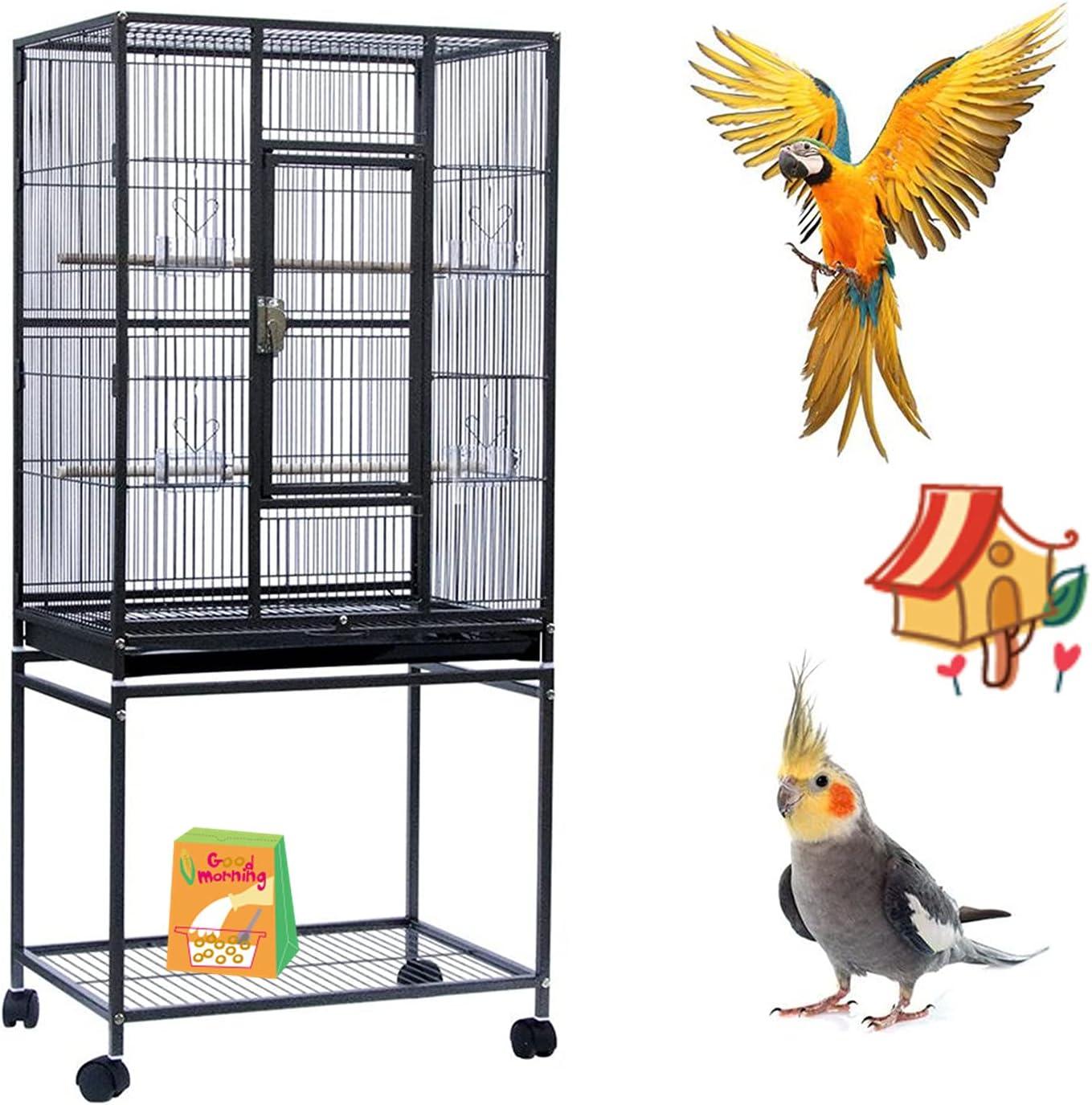 YIZHE Jaulas para pájaros,Jaula Pájaros Metal,Jaulas Grandes,Jaulas para Aves,Jaula de Aves Exterior,Jaula con Ruedas,Portátil con 4 Ruedas giratorias de 360° Soporte Desmontable(61.5*43*137cm Negro)