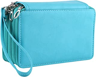 ZJchao 75 Slots Pu Leather Pencil Case, Multi-Layers Zipper Large Capacity Sketch Pen Bag Pouch Stationary Box Cosmetic Makeup Organizer Storage with Handle Strap Green