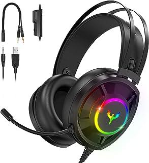 Blade Hawks Auriculares Gaming, Auriculares para Juegos con Sonido Envolvente, Efecto RGB, Orejeras Permeables al Aire, Mi...