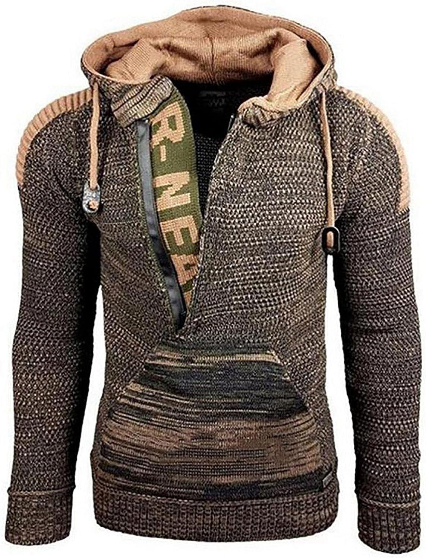 2021 Fashion Pullover for Men's Hooded Knitwear Sweaters Coat Flat Knitted Loose Plus Size Sweatshirt Jacket