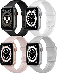 Hotflow 4 Pack Compatible with Apple Watch Bands 38mm 40mm for Women Men,Soft Silicone Sport Replacement Strap Compatible for iWatch Series SE 6 5 4 3 2 1(White/Pink Sand/Fog/Black,Size-S/M)