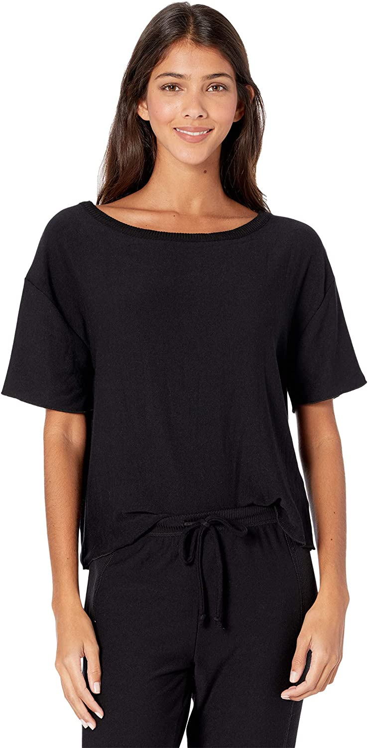 CHASER Cozy Knit Short Sleeve Cropped Sweatshirt Tee