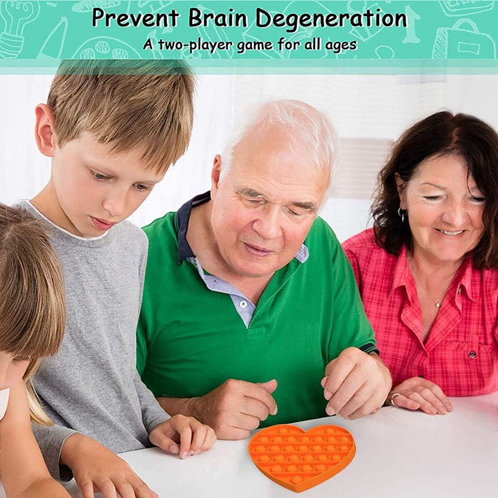 Rensmart Push Pop Bubble Fidget Toy Autism Sensory Anxiety Stress Toys Silicone Heart Shape Tool for Children Boys Girls Adult Elderly Heart Green