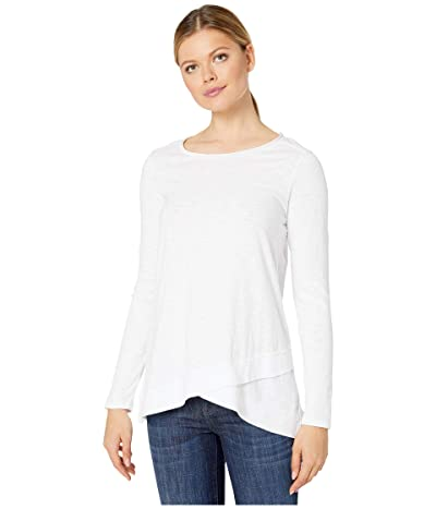Mod-o-doc Heavier Slub Jersey Long Sleeve Tee with Crossover Rib Hem (White) Women