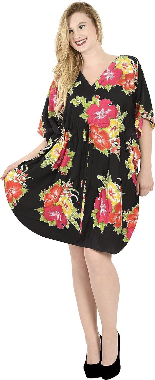 LA LEELA Women's Midi Kaftan Casual Dress Night Gown Beach Cover Ups Drawstring