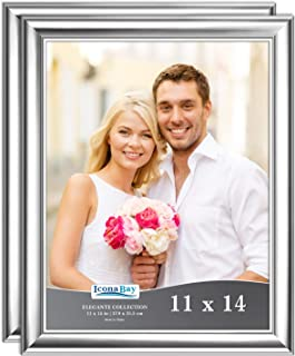 Icona Bay 11x14 Picture Frame (2 Pack, Silver), Silver Photo Frame 11 x 14, Wall Mount or Table Top, Set of 2 Elegante Collection