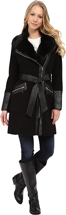 Asymmetrical Belted Wool Coat w/ PU Detail and Faux Fur Collar