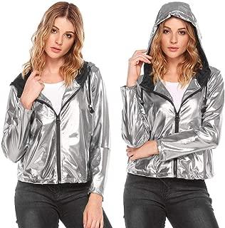 Women's Faux Leather Bomber Metallic Casual Jacket