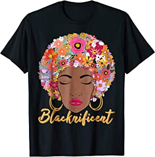 Blacknificient Floral Afro Hair African American Shirt Gift