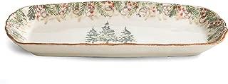 Arte Italica Natale Rectangular Tray, Cream