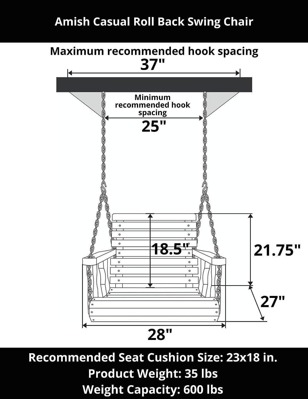 Amish Heavy Duty Roll Back Pressure Treated Swing Chair Cedar Stain