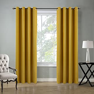 Roslynwood Velvet Curtains Room Darkening Grommet Top Window Curtain Panel Pair Drapes Yellow for Bedroom 52Wx96L(2 Panels) Custom Drapery