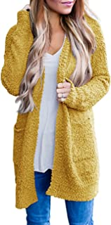 ZESICA Women's Casual Long Sleeve Open Front Sweater Chunky Knit Cardigan Outerwear with Pockets