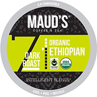 Maud's Organic Ethiopian Coffee (Dark Roast), 24ct. Recyclable Single Serve Fair-Trade Organic Single Origin Coffee Pods