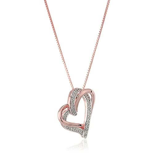 349ccc504 14k Rose Gold Plated Sterling Silver Diamond Double Heart Pendant Necklace  (1/4cttw,