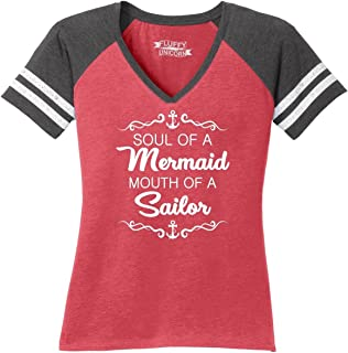 Comical Shirt Ladies Soul of Mermaid Mouth of Sailor Game V-Neck Tee