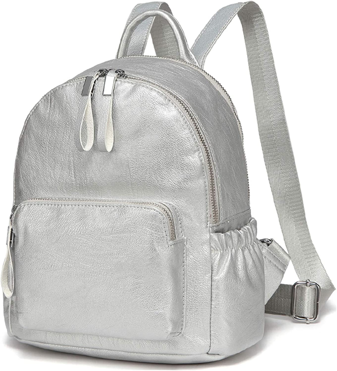 bluee Mini Backpack Small Backpack for Women Cute Backpack Bag Pack PU Leather Silver