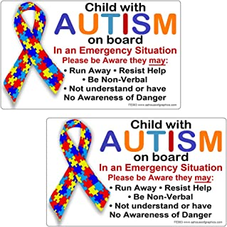 AZ House of Graphics Child Autism On Board Bumper Stickers 2 Pack