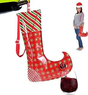 Christmas Stocking Flask Wine Dispenser- Large Party Sock w/Shoulder Strap (Holds 3 Bottles)- Funny White Elephant Gifts Under 25 Dollars- Christmas Gag Gifts- Dirty Santa, Yankee Swap, Secret Santa